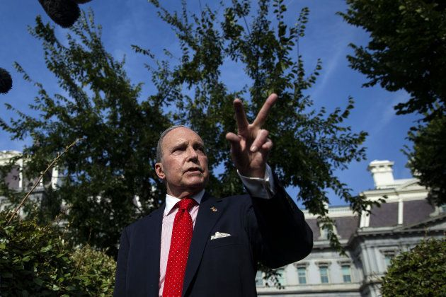 Larry Kudlow, director of the U.S. National Economic Council, speaks to members of the media outside...