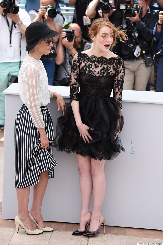 Emma Stone Rocks Black Lace Mini Dress At Cannes