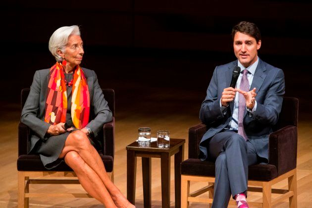 Prime Minister Justin Trudeau and Christine Lagarde, Managing Director of the International Monetary...