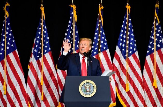U.S. President Donald Trump speaks during a fundraiser in Sioux Falls, South Dakota on Sept. 7,