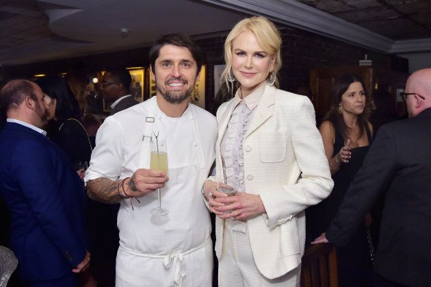 Chef Ludo Lefebvre and Nicole Kidman at the 'Destroyer' cast dinner hosted by Grey Goose vodka and Soho