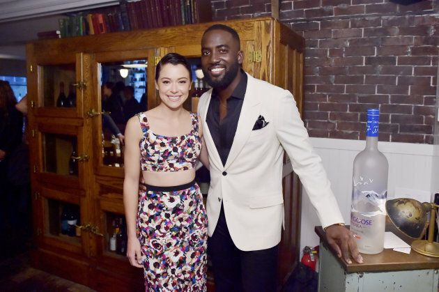 Tatiana Maslany (L) and Shamier Anderson at the 'Destroyer' cast dinner hosted by Grey Goose vodka and...
