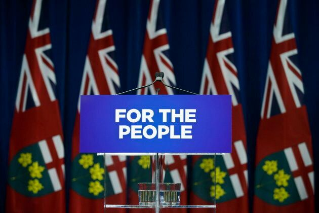 The podium is seen empty as Ontario Premier Doug Ford delays his news conference in Toronto on Sept....
