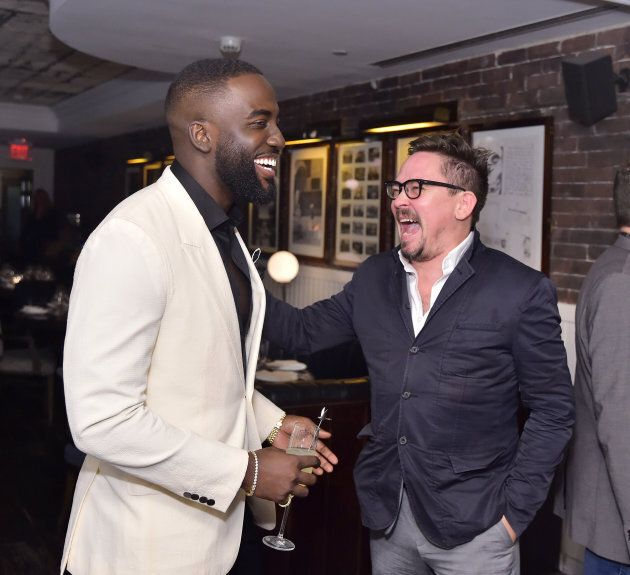 Shamier Anderson (L) and James Jordan at the 'Destroyer' cast dinner hosted by Grey Goose vodka and Soho
