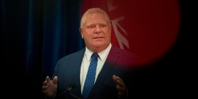 Ontario Premier Doug Ford speaks to reporters in Toronto, on Sept. 10,