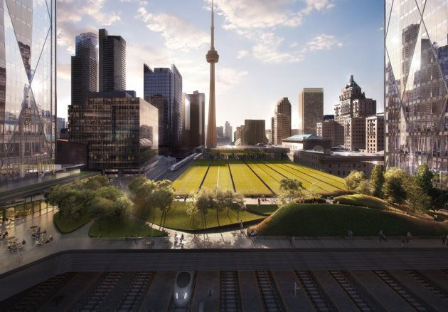 A rendering of greenspace between the two towers of CIBC Square, where Microsoft plans to move its Canadian