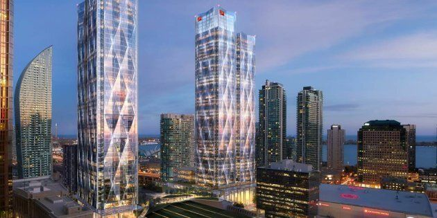 A rendering of CIBC Square, the office complex, currently under construction, that will house the Canadian headquarters of Microsoft.
