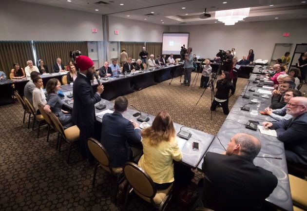 NDP Leader Jagmeet Singh addresses the start of a three-day NDP caucus national strategy session in Surrey,...