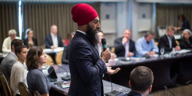 NDP Leader Jagmeet Singh addresses the start of a three-day NDP caucus national strategy session in Surrey, B.C., on Sept. 11, 2018.