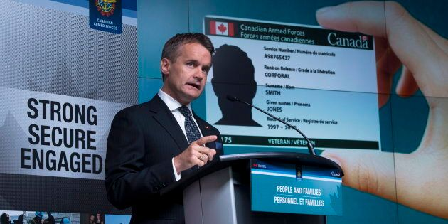 Veterans Minister Seamus O'Regan and holds a press conference at National Defence Headquarters in Ottawa...