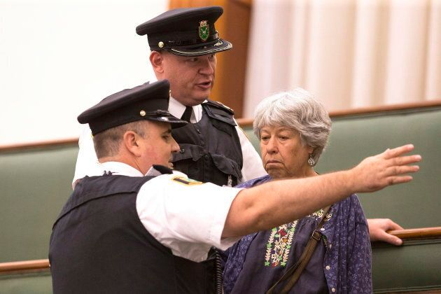 Ester Reiter is ordered to leave by Queen's Park Legislature Security during question period at the Ontario Legislature in Toronto on Sept. 12, 2018.