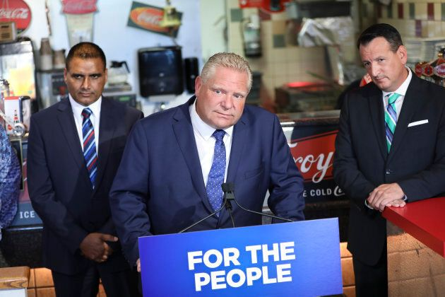 Ontario Premier Doug Ford in Milton on Aug. 29,