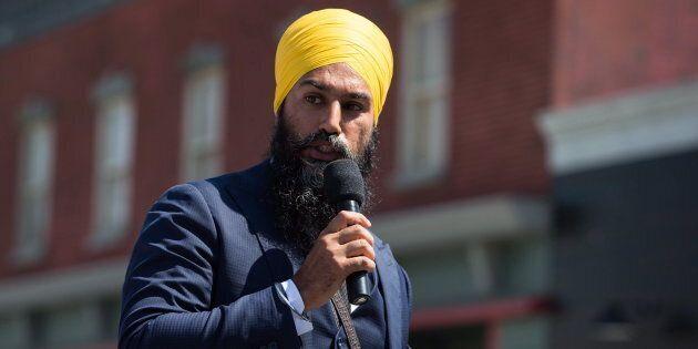NDP Leader Jagmeet Singh speaks at an event in Burnaby, B.C., on Aug. 8,