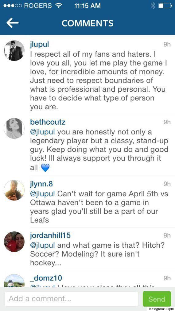 Joffrey Lupul Challenges Instagram User To A