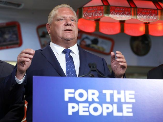 Premier Doug Ford, at Troy's Diner in Milton, Ont, announces the elimination of the carbon tax on Aug....