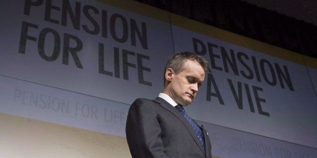 Veterans Affairs Minister Seamus O'Regan is shown at a news conference at National Defence headquarters...