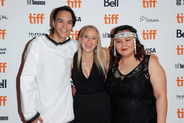(L-R) Paul Nutarariaq, Miranda de Pencier, and Emerald MacDonald at the 'The Grizzlies' premiere at TIFF...