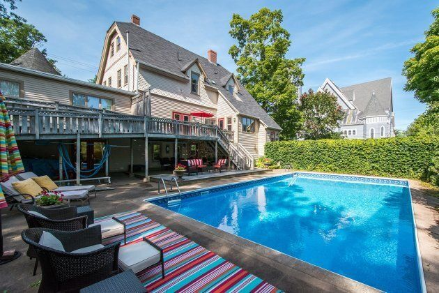 A backyard pool is perfect for hot summer days.