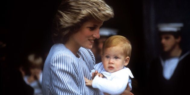 Princess Diana carries baby Prince Harry as the Royal Family set sail for the Western Isles in