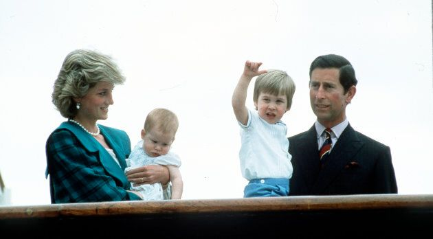 The Prince and Princess of Wales with Prince William and Prince Harry on the Royal Yacht Britannia on...