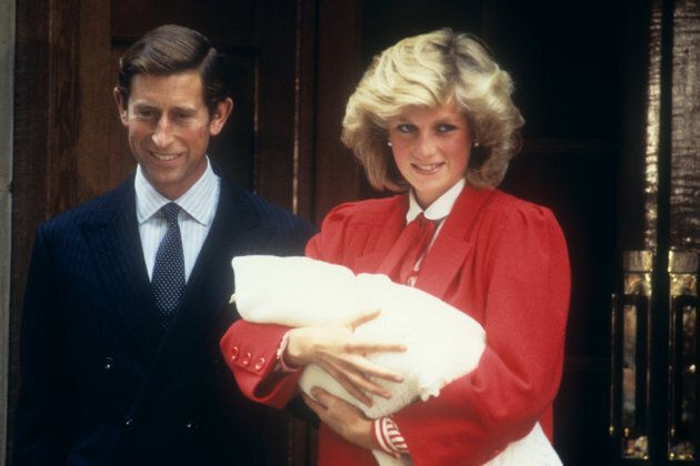 The Prince and Princess of Wales leaving hospital with their new baby Prince Henry (Harry) in September