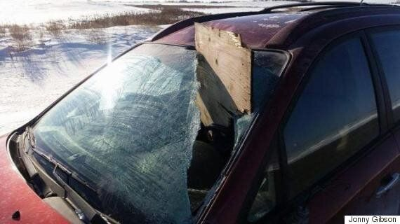 Plywood Smashes Through Jonny Gibson's Windshield On Saskatchewan Highway