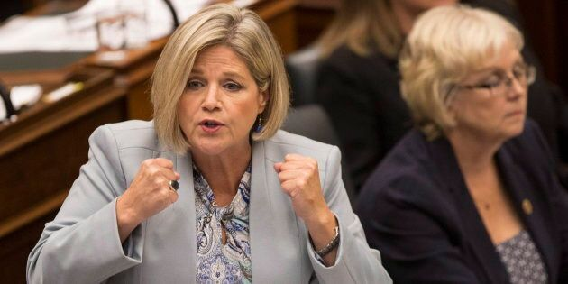 Provincial NDP Leader Andrea Horwath speaks at the Ontario Legislature in Toronto on Sept. 13,