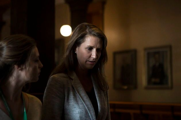 Caroline Mulroney walks away after scrumming with reporters after at the Ontario Legislature in Toronto,...