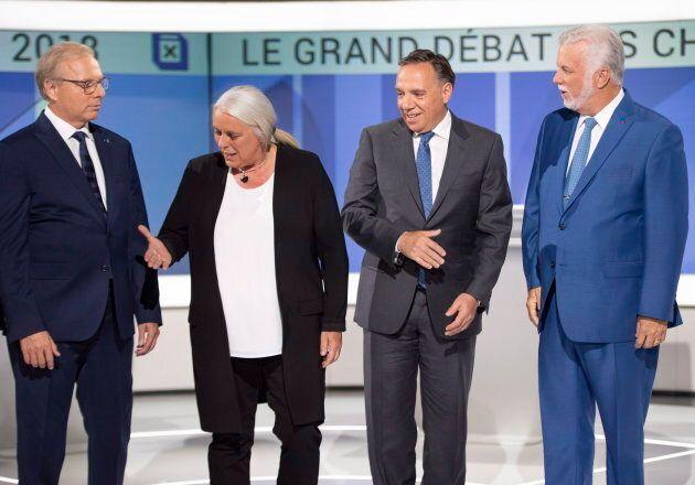 PQ leader Jean-Francois Lisee left, Quebec Solidaire leader Manon Masse , CAQ leader Francois Legault...