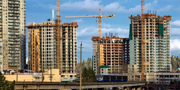 Residential towers under construction near the SkyTrain station in New Westminster, B.C. A new study has ranked Canada's housing market as the third-riskiest in the world.