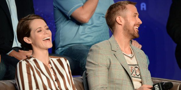 Claire Foy and Ryan Gosling at a press conference for the TIFF premiere of 'First Man' on September 11,