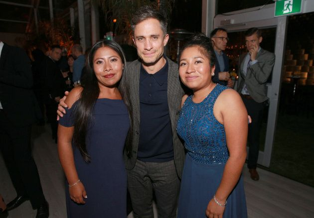Yalitza Aparicio, Gael Garcia Bernal and Nancy Garcia attend the after party for the 'ROMA' red carpet...