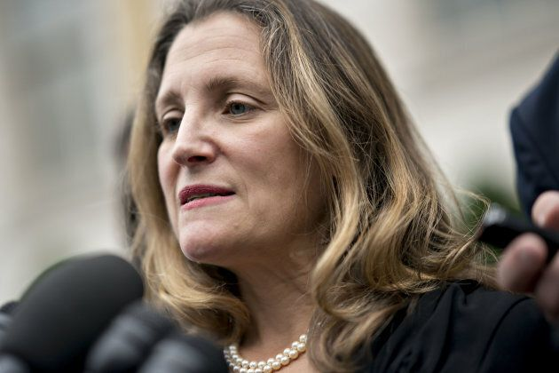 Chrystia Freeland, Canada's minister of foreign affairs, speaks to members of the media while arriving...
