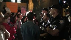 Police Push Back Protesters Trying To Enter Ontario Legislature Midnight