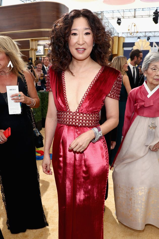 Sandra Oh, left, and her mom,