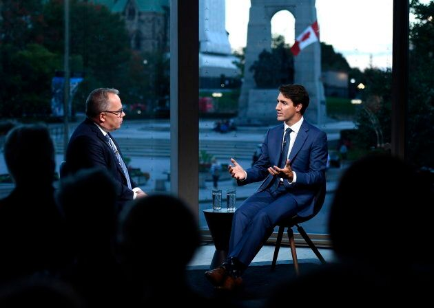 Prime Minister Justin Trudeau participates in an armchair discussion with Maclean's Paul Wells in Ottawa...