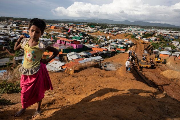 As the infrastructure continues to improve, a road is built in Kutupalong, the largest refugee camp housing the Rohingya on August 26, 2018 in Kutupalong, Cox's Bazar, Bangladesh.