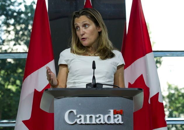 Foreign Affairs Minister Chrystia Freeland speaks during a news conference at the Canadian Embassy in...