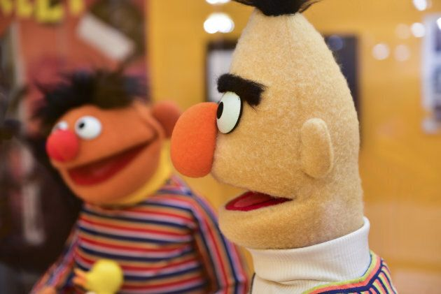 Bert and Ernie at the press preview of The Jim Henson Exhibition: Imagination Unlimited at Skirball Cultural Center on May 30, 2018 in Los Angeles, California.