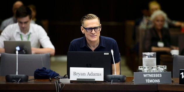 Canadian rock star Bryan Adams appears as a witness at a Standing Committee on Canadian Heritage in Ottawa...