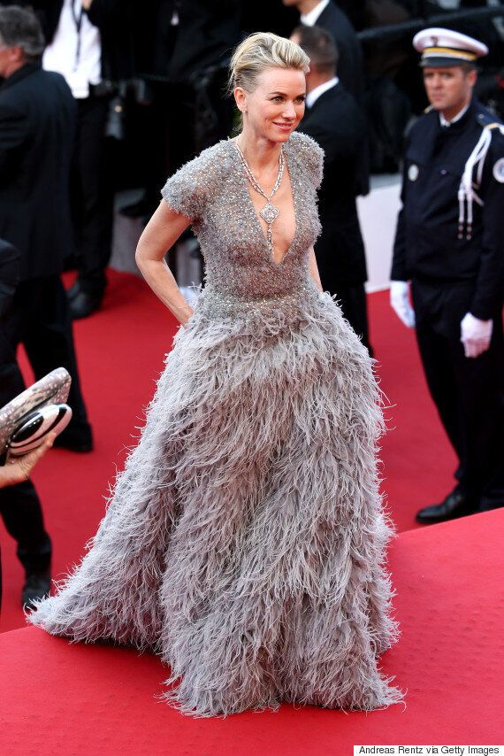 Naomi Watts Is A Vision In Feathered Grey And Silver