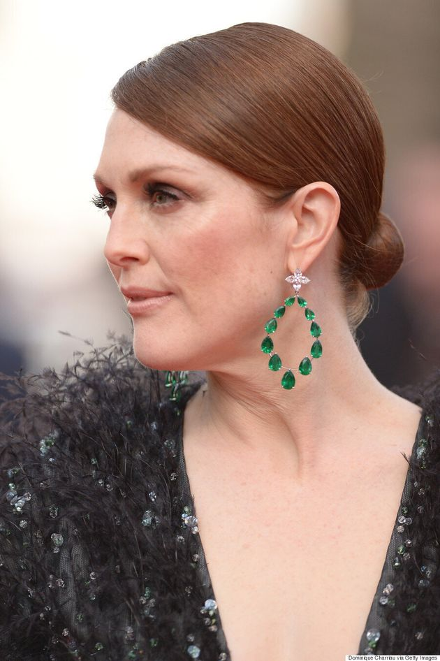 Julianne Moore Rocks Feathered Gown At Cannes