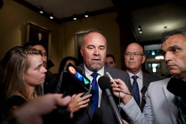 Ontario Progressive Conservative House leader Todd Smith scrums with media after a sitting of the legislature at Queens Park in Toronto on Sept. 15, 2018.