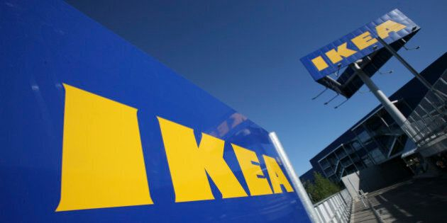 FILE - This is a Wednesday, June 18, 2008 file photo of the Ikea logo is shown on the side of the warehouse-sized...