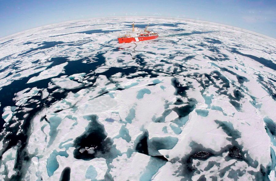 The Canadian Coast Guard icebreaker Louis S. St-Laurent makes its way through the ice in Baffin Bay on...