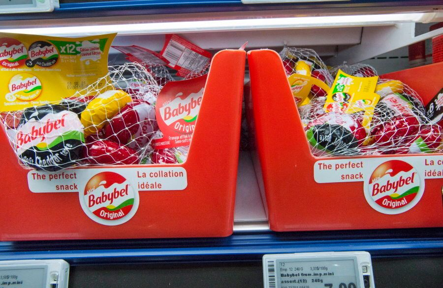 Bags of Mini Babybel cheese snacks are seen at a grocery store in St. Marthe, Que. on July 13,