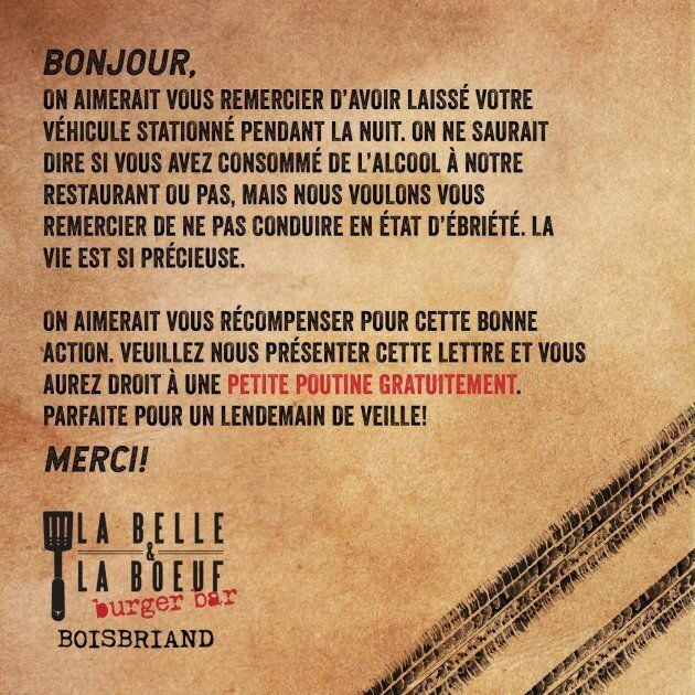 La Belle et La Boeuf Burger Bar will hand out this coupon to responsible drinkers, redeemable for one poutine each.