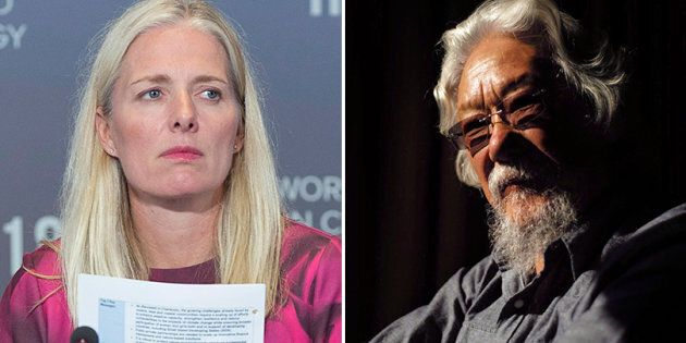 Environment Minister Catherine McKenna is shown in a composite with environmental activist David