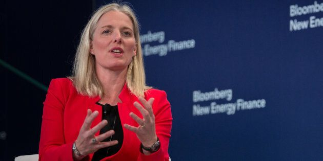 Environment and Climate Change Minister Catherine McKenna at the BNEF Future of Energy Summit in New York, N.Y., Mon. April 9, 2018. The federal Liberals' climate change plan could put more money in consumers' pockets than it costs them, a new study says.
