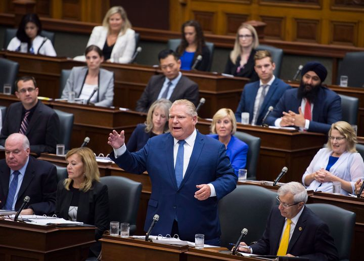 Ontario Premier Doug Ford speaks in question period in side the legislature at Queen's Park in Toronto on Sept. 17, 2018.